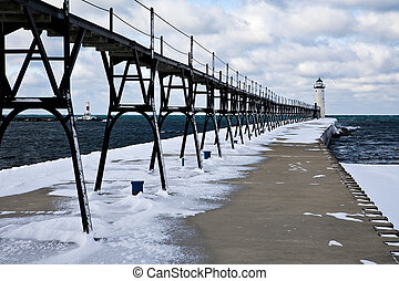 Great Lakes Lighthouse In Winter