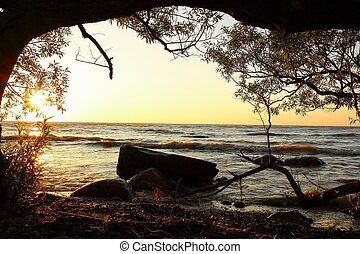 Great Lakes Morning - Great Lakes sunrise framed by nature. ...