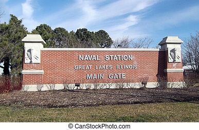 Great Lakes Naval Station Sign - Great Lakes Naval Air...