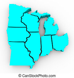 Great Lakes Region of States - 3d Map - A 3d map of the...