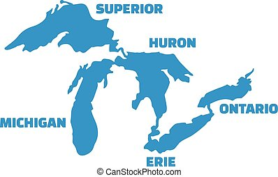 Great Lakes silhouettes with names