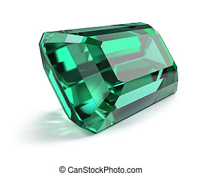 Great magnificent emerald. 3d image. Isolated white background.