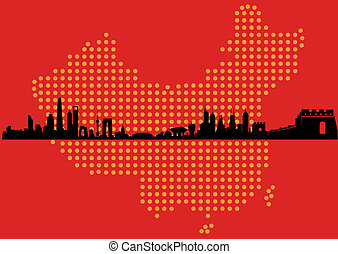 China Map Skyline - Great Mainland China Map Skyline