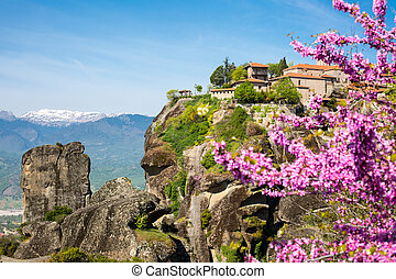 Great Meteoro Monastery on rocks in Meteora through the Branch of pink blossom