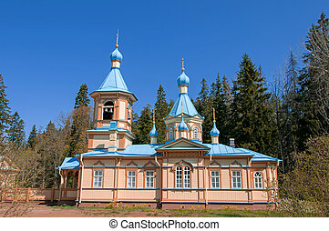 Great monasteries of Russia. Island Valaam. The church at...