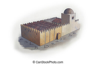 Great Mosque of Badajoz. Hypothetical depiction Today disappeared