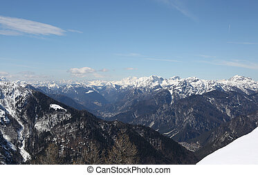 great Mountain range from Lussari Mount in Italy - panoramic...