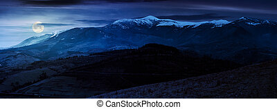 great mountain ridge Borzhava at night - great mountain...