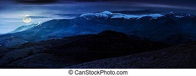 great mountain ridge Borzhava at night - great mountain...