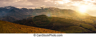 great mountain ridge Borzhava at sunset - great mountain...