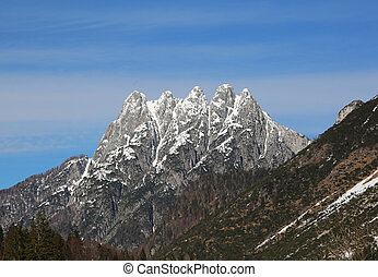 great mountains with five peaks called Cinque Punte in...