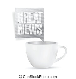 great news and coffee mug. illustration design