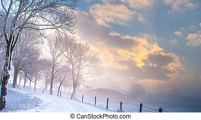 Great nice cozy winter landscape in the Netherlands