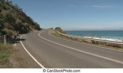 Great Ocean Road highway with lanes near South ocean in...