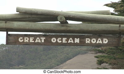 Great Ocean Road - Great ocean road highway signs with cars...