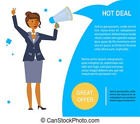 Great offer voucher in flat design. Businesswoman makes...