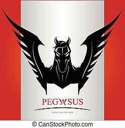 Black Pegasus Horse Head