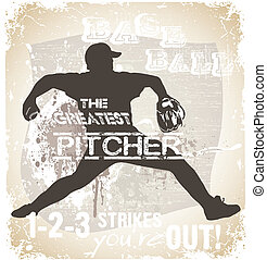 great pitcher - illustration for shirt printed and poster