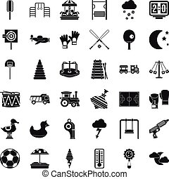 Great playground icons set, simple style