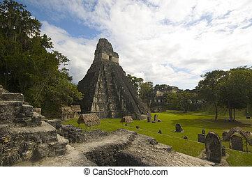 great plaza tikal guatemala acropolis palace temple I temple...