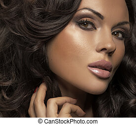 Great portrait of brunette lady with clear complexion - ...