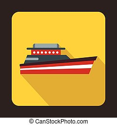 Great powerboat icon, flat style