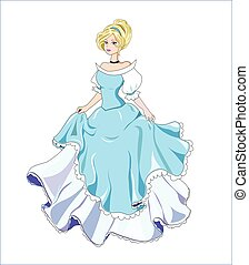 great princess with gold hair in a ball blue dress