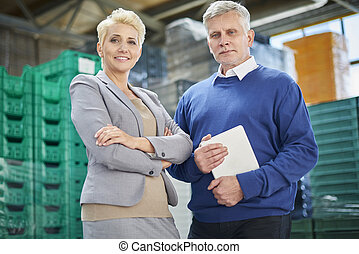 Great, professional team working in warehouse