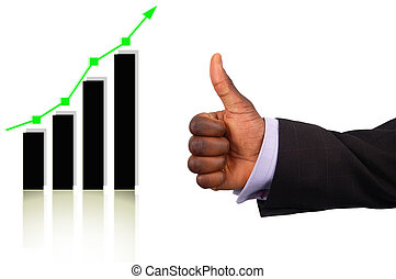This is an image of a businessman's hand giving thumbs up, due to the rise on the graph.