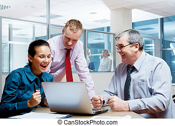 Great project - Team of joyful businesspeople rejoice the...