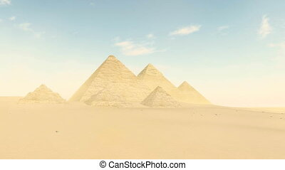 Famous egyptian pyramids - Great Pyramid of Giza among sandy desert dunes under bright daytime sky with time lapse clouds. Tilt up shot realistic 3D animation rendered in 4K