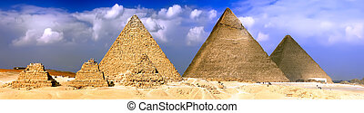 Great Pyramids, located in Giza. Panorama - Great Pyramids, ...