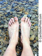 great relaxing feet on the shore of the Lake in the mountains