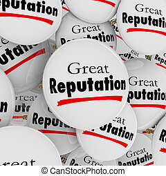 Great Reputation Buttons Pins Credibility Trustworthy