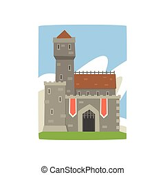 Great royal fortress with tower, red flags and iron grating on entrance. Landscape with medieval castle, clouds behind it. Flat vector design for postcard, game or children s book