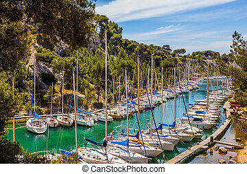 Calanques  - Great sailing yachts on the azure water of the ...