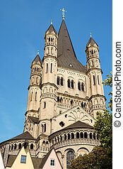 Great Saint Martin Church in Cologne - The massive tower of...