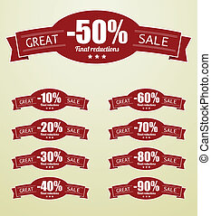 Great Sale tags with 10 - 90 percent text