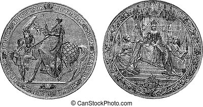 Great Seal of England by Queen Victoria vintage engraving....