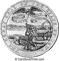 Great Seal of the State of Iowa  USA vintage engraving