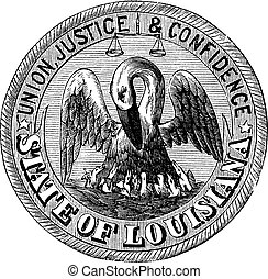 Great Seal of the State of Louisiana, USA, vintage engraving. Old engraved illustration of Great Seal of the State of Louisiana isolated on a white background.