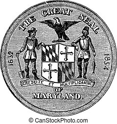 Great Seal of the State of Maryland, United States, vintage engraving. Old engraved illustration of Great Seal of the State of Maryland isolated on a white background.