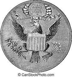 Great Seal of the United States of North America, vintage engraved illustration