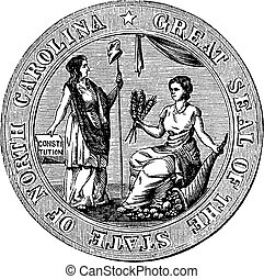 Great seal or hallmark of North Carolina vintage engraving. ...