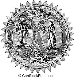 Great seal or hallmark of South Carolina vintage engraving. ...