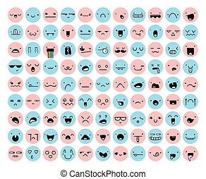 Great set 99 pink, blue emotion isolated on white. Emoji set. Anger and compassion. Laughter and tears. Smile and sadness. Sadness and surprise. Happiness and fear. Emotions for Web development.