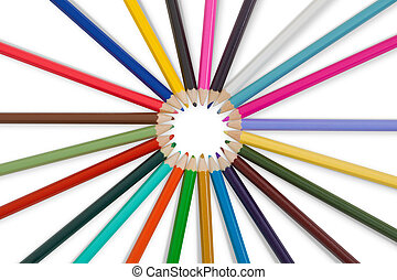 Great set of color pencils on white background