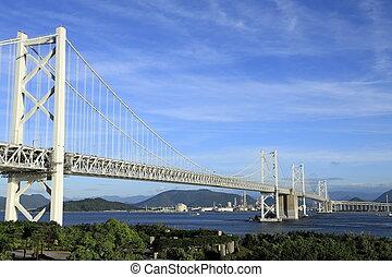 Great Seto bridge, view from Yoshima island in Kagawa, Japan