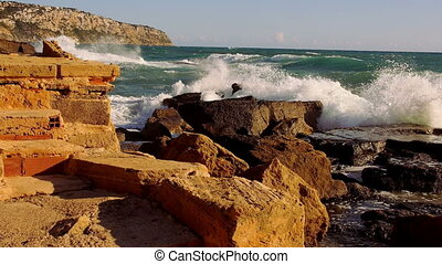 Great shot of breaking ocean waves wild water