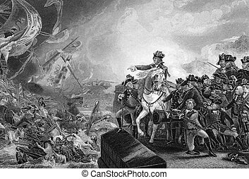 Great Siege of Gibraltar on engraving from the 1800s. An...